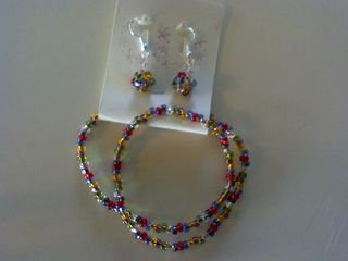 Bead Necklace and Earrings